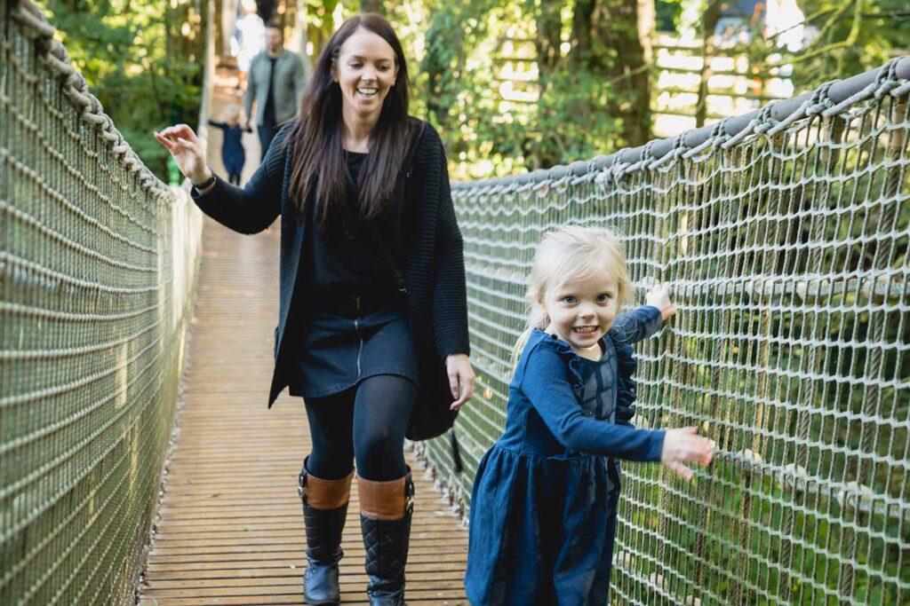 Paignton Zoo wobbly bridge in Lemur Wood