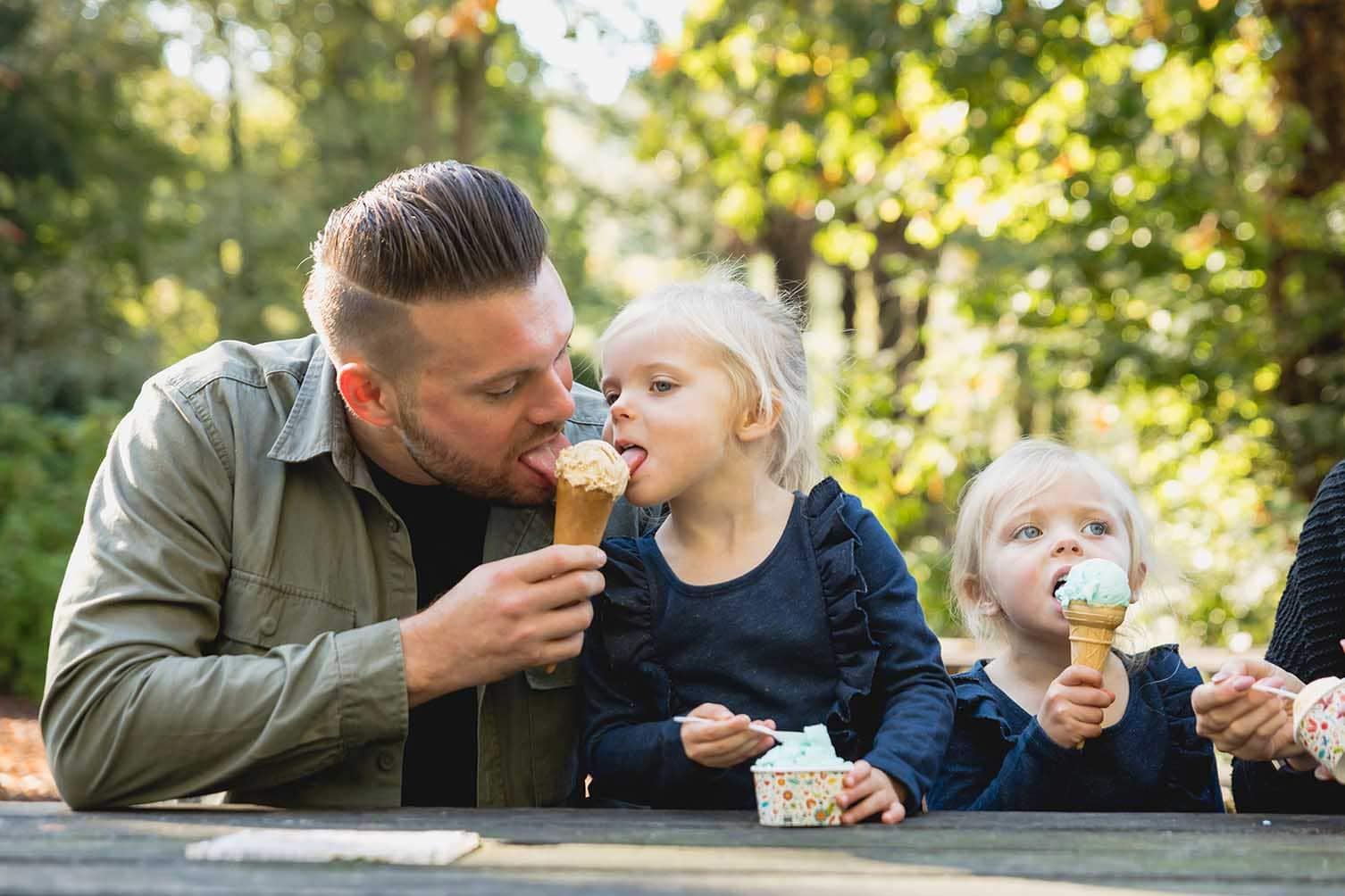 Family eating ice cream at Paignton Zoo