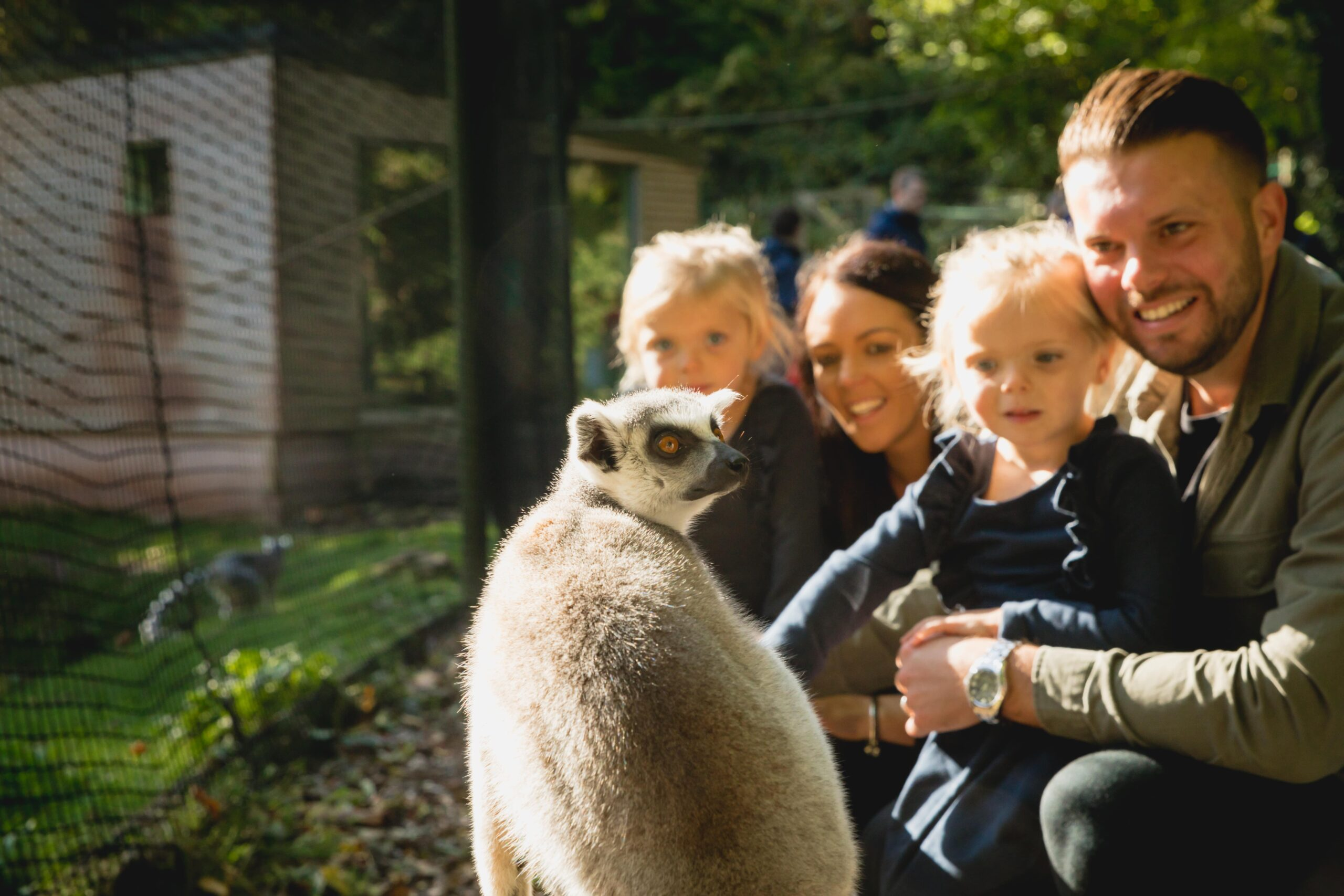 Family in lemur Wood at Paignton Zoo