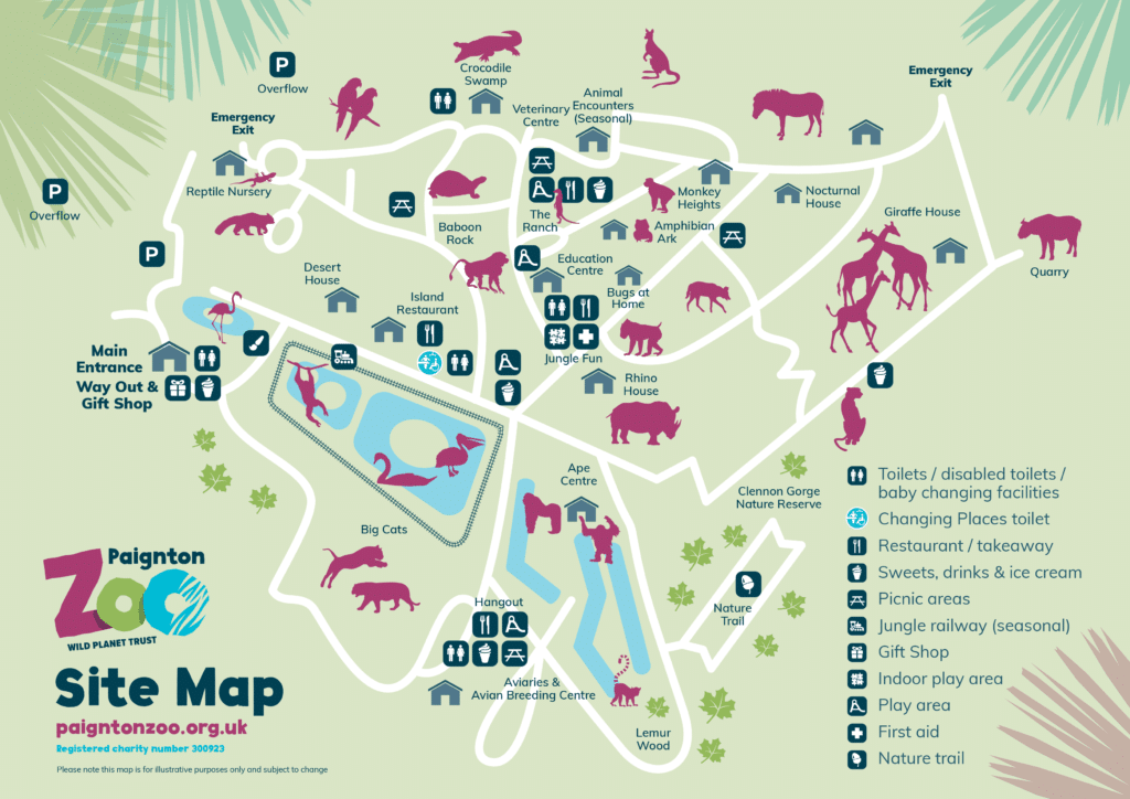Paignton Zoo Site Map Oct 2020